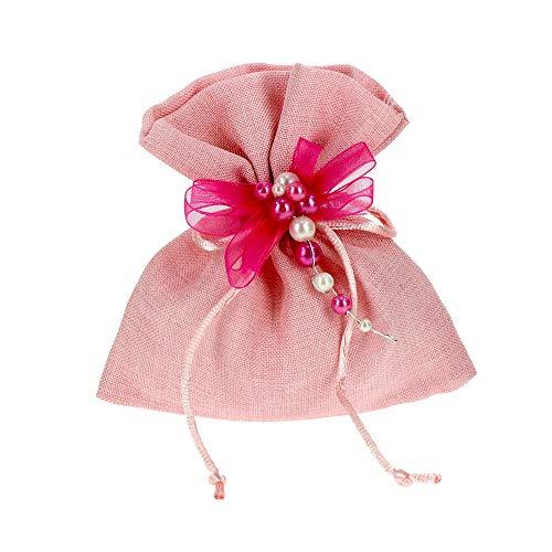 Bomboniere Fai da Te Kit bomboniere Cerimonia Rosa Completo di Sacchetti e Decorazioni Confezione da 20 Pezzi