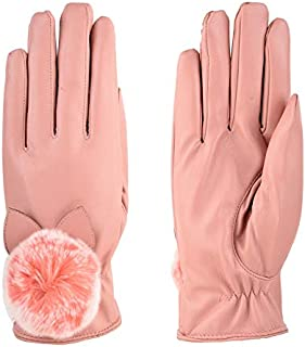LIUFULING Winter New Hair Ball Ladies PU Points Gloves Outdoor Warm Plus Velvet Touch Screen Gloves (Color : Pink)