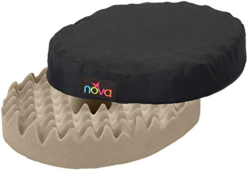 "NOVA Donut Pillow Seat Cushion with Convoluted ""Egg Crate"" Foam, Travel Ring Cushion, Removable & Washable Black Cover"