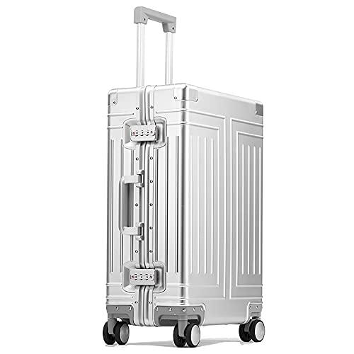SGCDKSP Bagagli Uomini e Donne in Lega di Alluminio Trolley Custodia per Viaggi Box-Flagship Style,Argento,28 inch