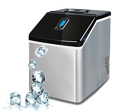 Cube máquina de hielo, 25 kg/24h SilencIOSa Máquina de Hielo, Capacidad 1.3 kg, depósito de agua: 2.2 l, Acero Inoxidable Máquina para Hacer Hielo