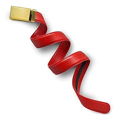 Mission Belt Men's Ratchet Belt - 35mm Gold Buckle/Red Leather, Large (36-38)