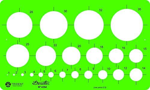 Gabarito Desetec Circulografo em Milímetros, 22 Círculos de 1 à 35 mm, 4364, Trident, Verde 16.5 x 10 cm