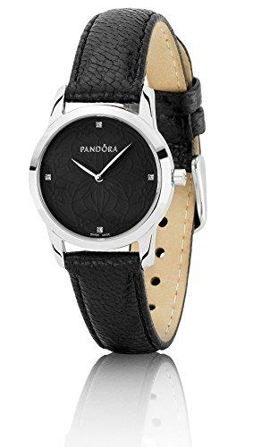 Pandora 811036BK - Reloj analógico de mujer de cuarzo con correa de piel negra