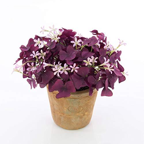 artplants.de Künstlicher Klee Alois, Blüten, im Terracotta Topf, violett, 25cm, Ø 20cm - Deko Glücksklee - Kunst Wiesenklee