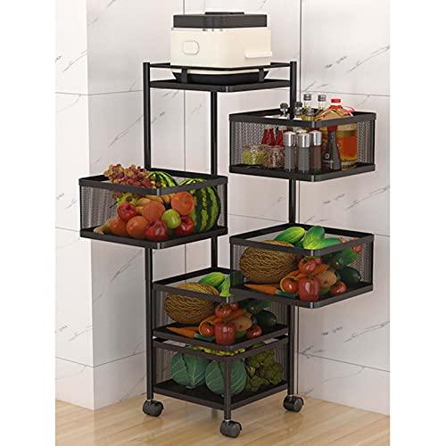 Estante de almacenamiento de 5 niveles de almacenamiento de cocina, estante giratorio para vegetales, carro de cocina de varias capas, estante de almacenamiento para cocina, vitro, frutas y verduras