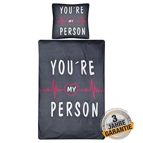 Aminata Kids - Bettwäsche-Set Spruch You Are My Person 135-x-200-cm Damen, Mädchen & Jugendliche, Baumwolle, dunkel-grau, weiß - weich & kuschelig, Reißverschluss, Arzt-TV-Serie USA, Dr. Fan-Artikel