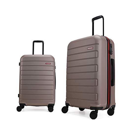 GinzaTravel Hardside Spinner, Carry-On, Wear-resistant, scratch-resistant Suitcase 20''and 28''set Luggage with Wheels (2-Piece Set, Champagne)