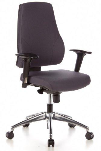 hjh OFFICE 608030 Profi Bürostuhl PRO-TEC 200 Stoff Grau Drehstuhl ergonomisch, Arm- & Rückenlehne höhenverstellbar