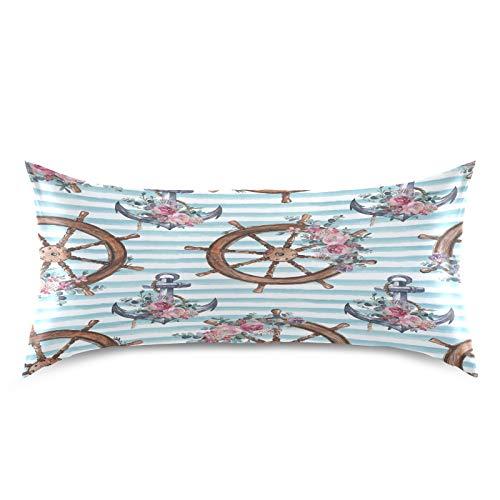 HaJie Funda de almohada de satén con diseño de flores de rosa de acuarela, funda de almohada de satén 100% poliéster para cabello y piel, tamaño estándar 50,8 x 101,6 cm, 1 unidad