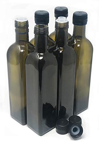 nicebottles Olive Oil Bottles with Cap amp Pourer Fitment Amber 500ml  Pack of 6