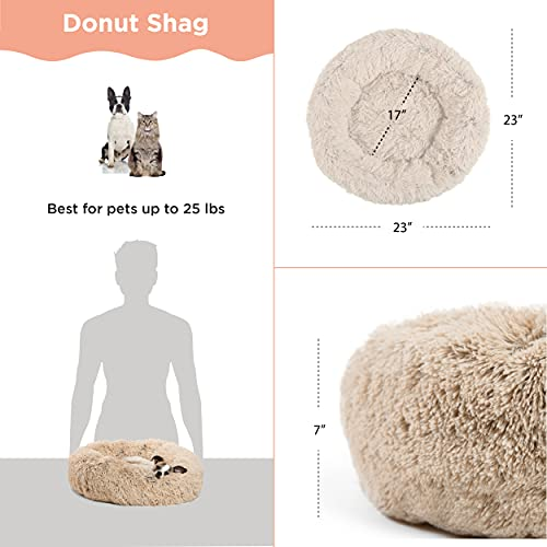 Best Friends by Sheri The Original Calming Donut Cat and Dog Bed in Shag Fur, Machine Washable, for Pets up to 25 lbs. - Small 23