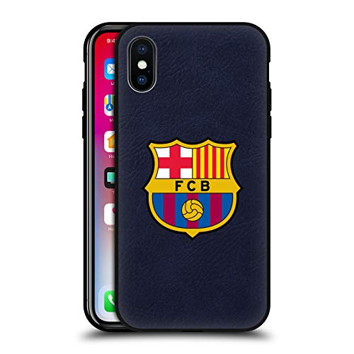 Head Case Designs Offizielle FC Barcelona Voll Logo Blau Leder Rueckseiten Huelle kompatibel mit Apple iPhone X/iPhone XS
