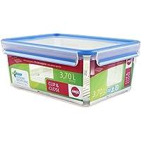 Emsa Clip & Close Conservador Hermético de Plástico Rectangular de 3,7 L con rejilla, Transparente y azul