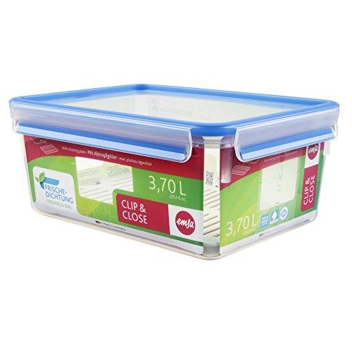 Emsa 512888 Frischhaltedose mit Abtropfgitter, Volumen 3.7 Liter, Maße 26.3 x 19.5 x 11 cm, Transparent/Blau, Clip & Close