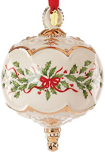 Lenox Annual Xmas Holiday Ivory Pierced Ball Spire Ornament Golden Tag Elegant Gift New in box