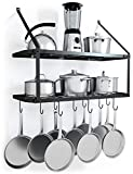 VDOMUS Shelf Pot Rack Wall Mounted Pan Hanging Racks 2 Tire...