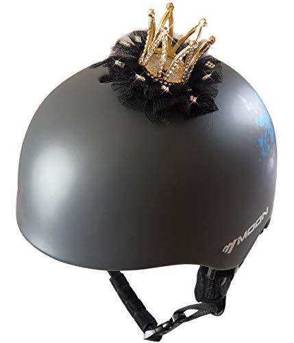 3T-SISTER helm kroon kristal gouden kroon met kant voor skihelm fietshelm motorhelm overal herbruikbaar klittenband ontwerp Zwart