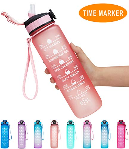 Giotto 32oz Large Leakproof BPA Free Drinking Water Bottle with Time Marker & Straw to Ensure You Drink Enough Water Throughout The Day for Fitness and Outdoor Enthusiasts-Light Pink