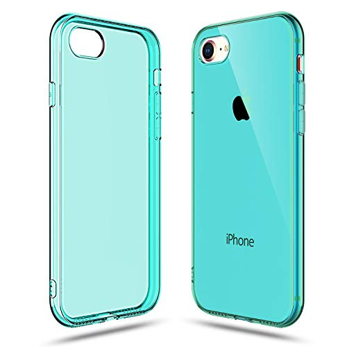 Shamo's Transparent Shock Absorption TPU Rubber Gel Case (Teal) Compatible with iPhone 7 and iPhone 8