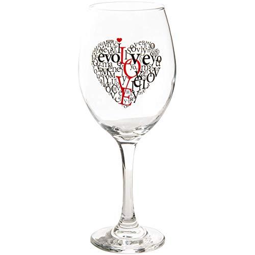 Copas de Vino Tinto Emotional · XXL Copa de Vino con Texto I Love You · Copa de Vino Tinto con Caja de Regalo · Copa de Vino Blanco · Diseño corazón Amor Idea Regalo · Regalo de Boda