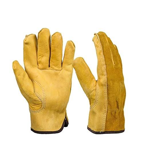 Hhjkl Arbeitshandschuhe 1Pair Lederhandschuhe Arbeitsschutzhandschuhe Gartenarbeit Handschuhe Tragen Sicherheitswerkzeuge Garten Baumeister Mechaniker (Color : Yellow, Size : L)