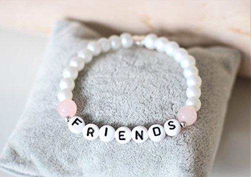 Namensarmband weiß perlmutt rosa Herz silber farben, personalisiert, Initialen, Buchstaben, individualisierbar, Geschenk