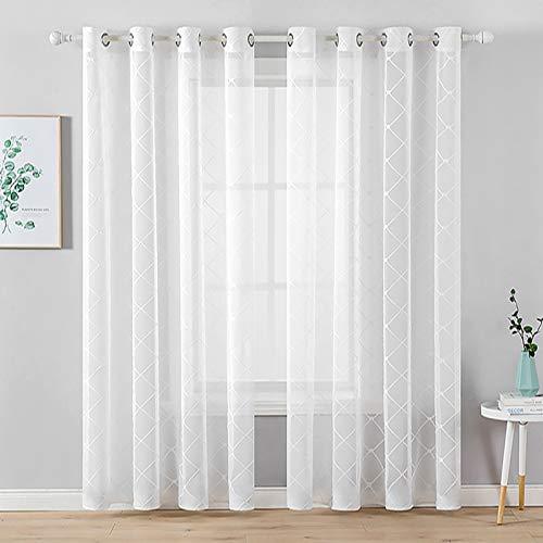 MIULEE 2er Set Sheer Vorhang Halbtransparente Dekorative Ösenvorhänge Gardine aus Voile Polyester Strich Durchwirken Lichtdurchlässig für Wohnzimmer Küche Cafeteria 140x145cm Weiß