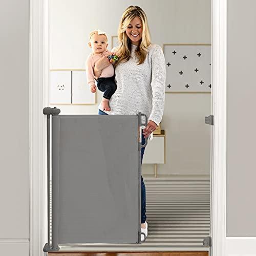 Momcozy Treppenschutzgitter Ausziehbare für Babys (Aktualisiert), 0-140 cm, 83 cm Hoch Baby Absperrgitter Treppenschutzrollo, Einhändig Bedienbar, Geeignet für Treppen/Türen/Innen & Außen, Grau