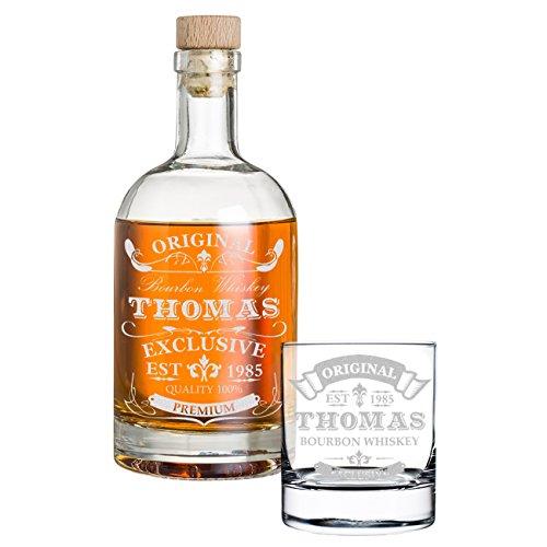 Coffret Cadeau 2 pièces Personnalisé avec Gravure - Bouteille de Whisky et Un Verre de Whisky - Carafe en Verre Contenu: 700ml - idée Cadeau pour Les Hommes - Motive Exclusive,