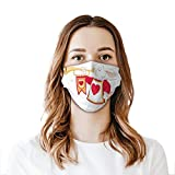2021 Trendy Rabbit Playing Royal Trumpet with Heart Design Animal Card Kids Mouth Cover for Women,Face Mask Reusable Washable Cloth for Men