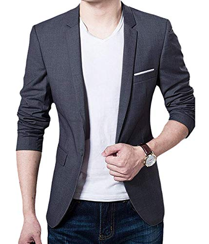 GEEK LIGHTING Sports Jackets for Men Slim Fit Single One Button Blazer(Gray,US M=Label 3XL)