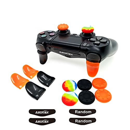 L2 R2 Triggers Ps4 (2 Pairs Trigger Extender, 6Pcs Thumbstick Grips, 2 Pairs LED Light Bar Decal) for Ps4 Dualshock Controller (Black&Orange)