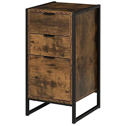 HOMCOM Kommode mit 3 Schubladen, Schubladenschrank in Industrie Stil, Beistellschrank, Büroschrank, Metall, 39 x 40 x 76,5 cm