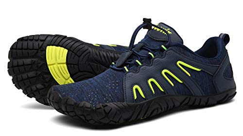 Voovix Herren Trekkingschuhe Damen Wanderschuhe Barfußschuhe Laufschuhe Traillaufschuhe Knit Sneaker Fitnessschuhe im Sommer Blau Grün45