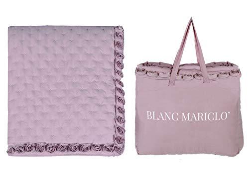 BLANC MARICLO' Trapunta matrimoniale boutis rosa con borsa 260x260cm A2955899RA