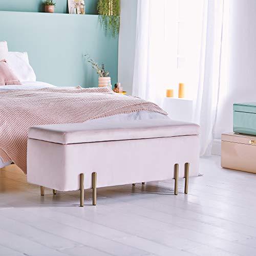 Beautify Aufbewahrungsbank Sitzbank Sitztruhen Footstool Aufbewahrungsbox Ottomane Stuhl Puff für Ankleidezimmer, Wohnzimmer, Schlafzimmer-Rosa Samt - 3