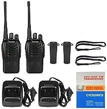 RFV1(tm) BF-888S UHF 400-470MHz CTCSS/DCS with Earpiece Handheld Amateur Radio Tranceiver Walkie Talkie Two Way Radio Long Range Black 2 Pack