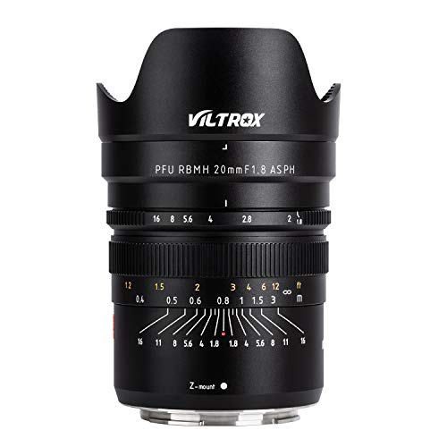 VILTROX 20mm f1.8 Full Frame Wide-Angle Fixed/Prime Lens for Nikon Z Mount Mirrorless Cameras Z7 Z6, Manual Focus