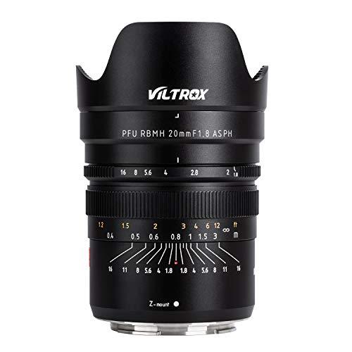 Viltrox PFU RBMH Weitwinkelobjektiv für Nikon Z-Bajonett-Kameras Z7 und Z6, 20 mm, f/1.8, ASPH, Vollformat, Fixfokus-Objektiv, manueller Fokus