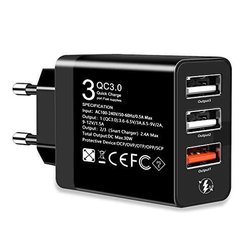 OENLY QC3.0 USB Cargador rápido Cargador Movil Universal Adaptador, 30W 3Port QC3.02.0 Smart Cargo sólido Desmontables en Lote schnellladeger para SamsungiPhoneiPad Huawei Google