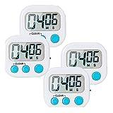 4-Pack Small Digital Kitchen Timer Food Timer, Big Digits Loud Alarm Magnetic Backing