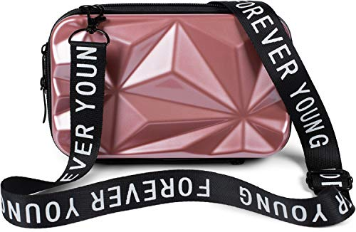 styleBREAKER Damen Multifunktion Umhängetasche 3-D Prisma Oberfläche mit Reißverschluss, Crossbody Bag, Case 02012324, Farbe:Rose