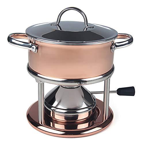MOM AI Skillet Bronze Gold dreischichtige Unterseite Stock Pot Eine Person, EIN Topf Kochgeschirr Geeignet für Zuhause und Geschäft, Hot Pot Essen, Amaranth