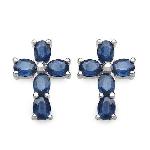 Jaipuri.instyle Damen-Ohrstecker 925 Sterling Silber Rhodiniert Blau Saphir E223BSAPH
