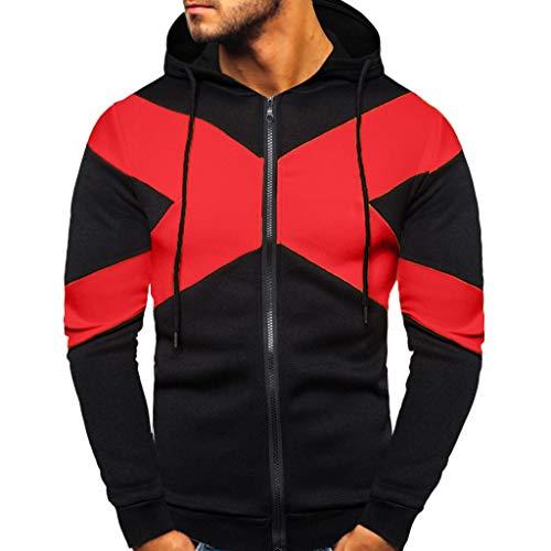 Zip Kapuzenjacke Herren Sweatshirts für Herren, Holeider Zipper Hoodie Herren Langarm Farb-Patchwork Kapuzenpullover für Männer Casual Mode Streetwear Kapuzensweater Sweatjacke