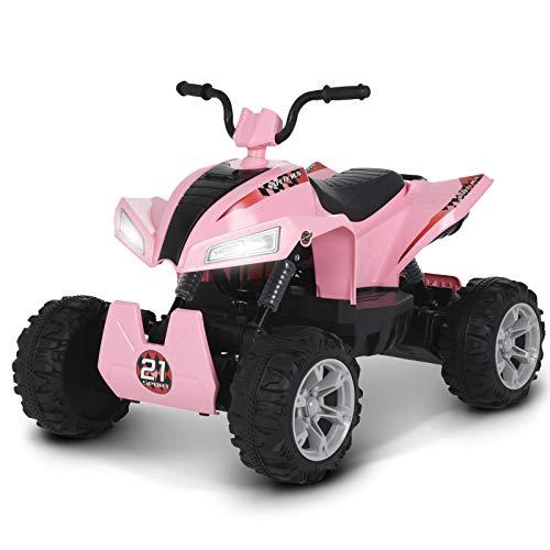 Uenjoy 24V Kids ATV 4 Wheeler Ride On Quad Battery Powered Electric ATV for Girls, 4-Wheel Suspension, 2 Speeds, LED Lights, Music, Pink