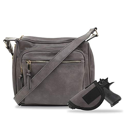 Jessie & James | Concealed Crossbody Gunbag RFID Blocking Locking Firearm Removable holster | GY