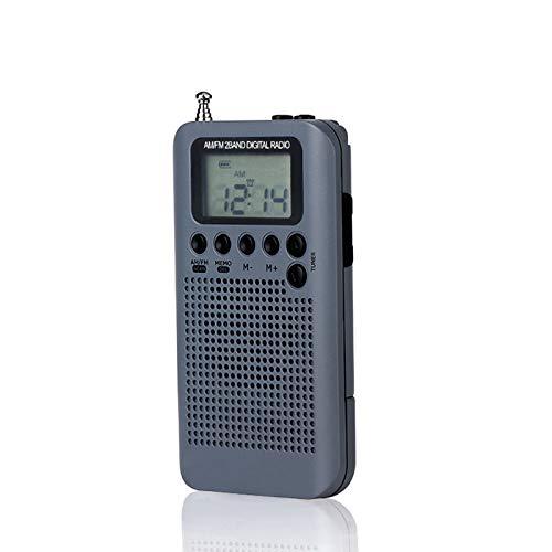 Docooler HRD-104 Bolso portátil para rádio estéreo AM/FM Rádio digital de sintonia de 2 bandas Mini receptor Rádio ao ar livre com cordão para fone de ouvido Tela LCD de 1,3 polegadas