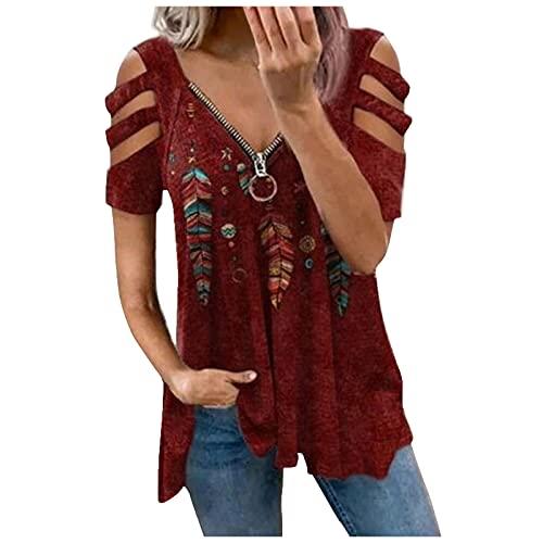 Bilbull Camiseta de verano para mujer, cuello en V, cierre de cremallera, manga corta, suelta. rojo L